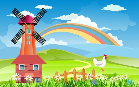 Red windmill on hills, Countryside landscape, white chicken, farmland, rainbow in the sky, vector illustration