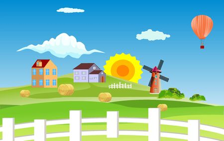 Village houses on hills, Countryside landscape, windmill, farmland, village, vector illustration