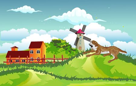 Countryside landscape, green hills with houses, windmill and dog lying in the hill, vector illustration