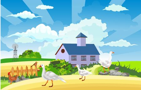 Rural landscape, chicken and goose on the green hill , cottage house, countryside, vector illustration