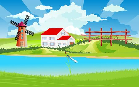 Rural landscape, farm houses on the riverbank, cottage house, countryside, vector illustration