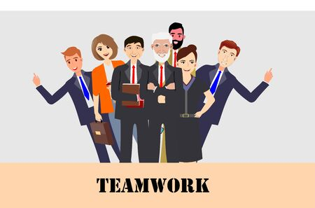 Modern corporate Office Group Of Creative People set, symbolizing teamwork  Flat Vector Illustration