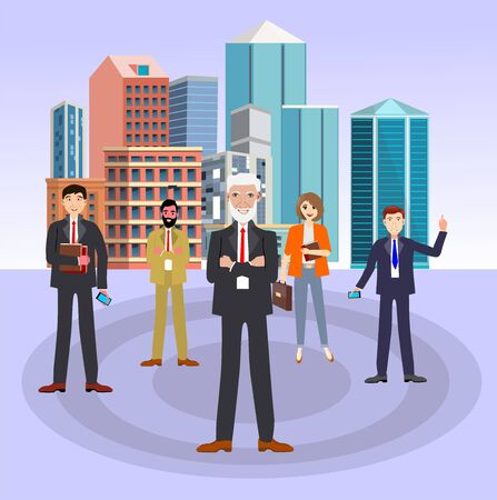 Vector business illustration, business team together in front of city buildings,  business project Stock Illustratie