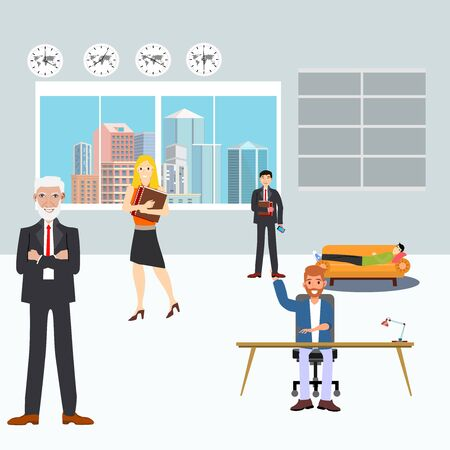 Modern corporate Office Group Of Creative People Working Together,  Flat Vector Illustration