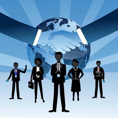 Sagome di Globe e busenessmen in piedi davanti all'illustrazione della stretta di mano del globo terrestre su sfondo blu bianco. Vettore di lavoro di squadra Vettoriali