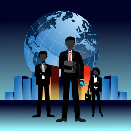 Vector Illustration, Business team on background with globe and city,