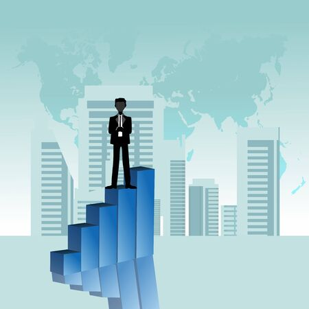 Businessman on the peak, vector illustration.  businessman make a successful career concept vector