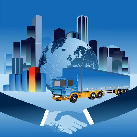 Business vector illustration. Handsshake  businessman make a successful deal on globe background