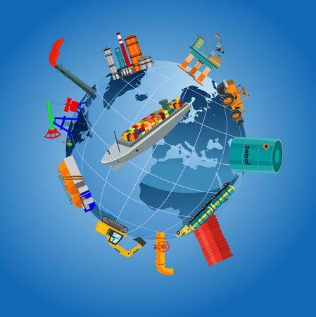 Global logistics network.  3d vector illustration Plane, truck, train, ship logistic  rail transportation . Concept Delivery service around the world globe.