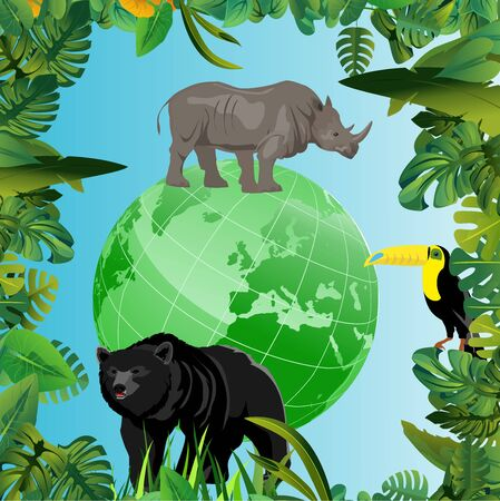 Eco green globe on tropical forest, wild animals, ecology and wildlife theme vector concept illustration