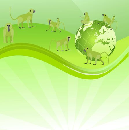 Baboons apes on Eco green globe , wild animals, ecology and wildlife theme vector concept illustration