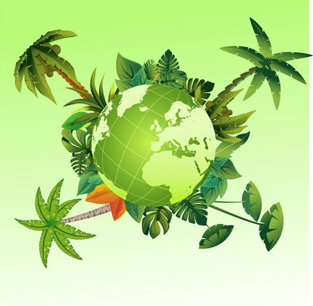 Eco green globe on tropical forest, ecology and wildlife theme vector concept illustration