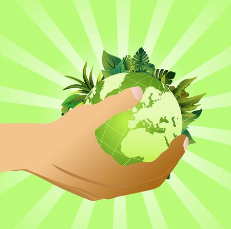 Eco green globe on sunflower on hands, isolated on white vector concept illustration