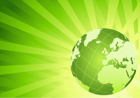 Eco green globe on green background,  vector concept illustration