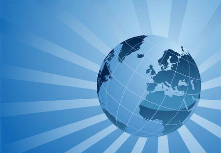Blue globe on blue background,  vector concept illustration