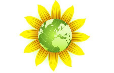 Eco green globe on sunflower, isolated on white vector concept illustration 일러스트