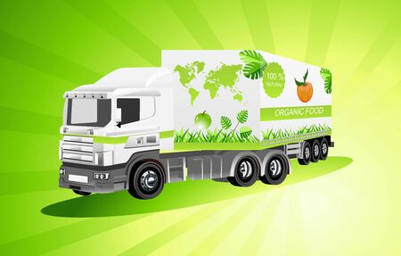 Organic food concept illustration Globe and truck illustration, , vector concept 일러스트