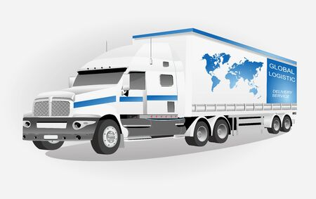 Logistic truck isoalated on white vector
