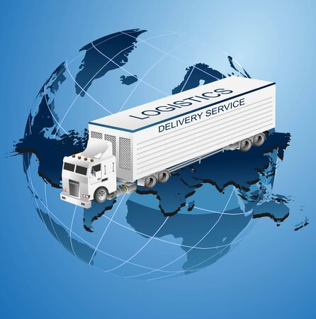 Global logistics truck illustration, 3d isometric vector element of truck on globe, vector concept