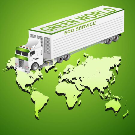 Global logistics truck illustration, 3d isometric vector element of truck on world map, vector concept
