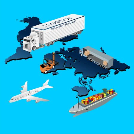 Global logistics illustration, 3d isometric vector elements set of airplane, truck, maritime shipping.  delivery service. Vehicles.