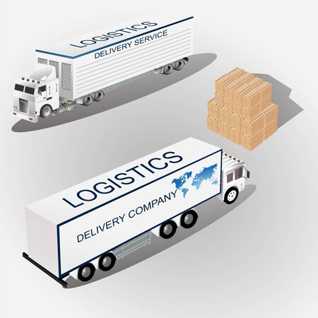 Transportation isometric elements set with 2  trucks trailers boxes forklifts  isolated vector illustration 일러스트