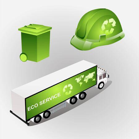 Eco concept green eco car vector 일러스트