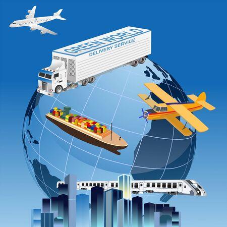 Global logistics network.  3d isometric vector illustration Plane, truck, train, ship logistic  rail transportation . Delivery service around the world globe.