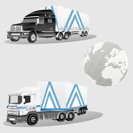 Commercial trucks isolated on white vector 일러스트