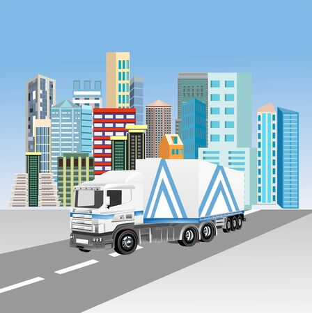 Heavy truck on the city street vector