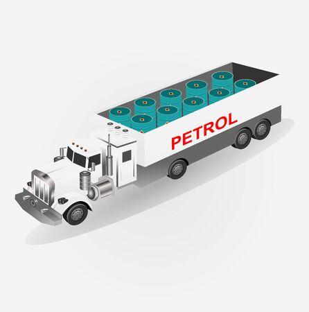 Camion per il trasporto di benzina, illustrazione vettoriale isometrica Vettoriali