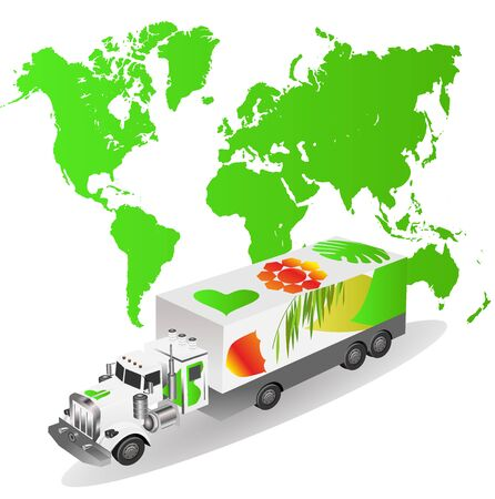 Cartoon delivery Truck  on world map background. Concept ecology theme