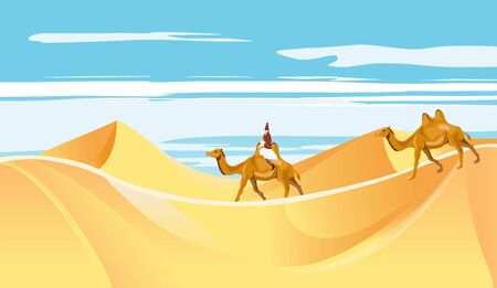 The Caravan in the desert sand dunes vector Illusztráció