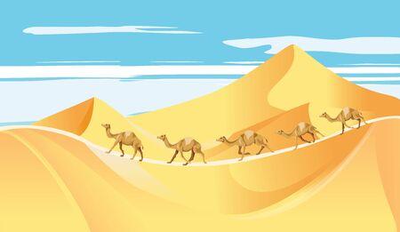 The Caravan in the desert sand dunes vector 일러스트