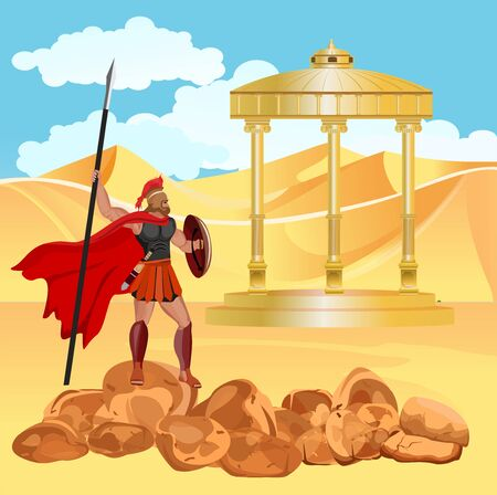 The Ancient greeks temple in the desert sand dunes and warrior 일러스트