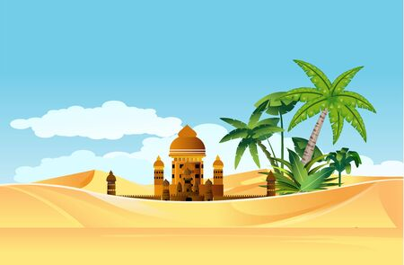 Oasis in the desert , buildings and palm trees in sand dunes, vector landscape
