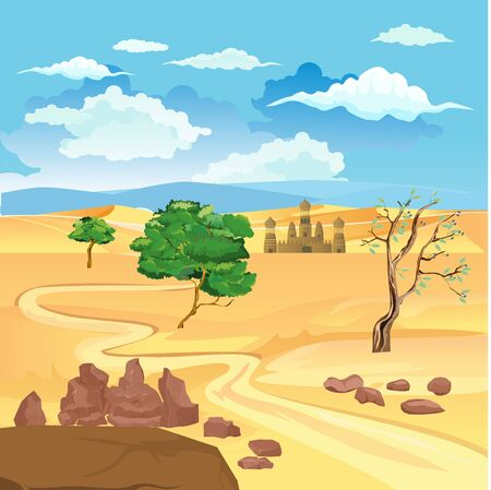 Ancient muslim fortress in the desert , vector landscape