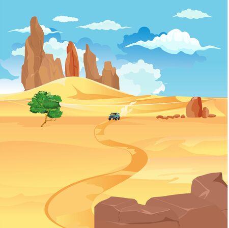 Car driving in desert road vector landscape