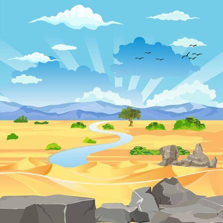 Desert with mountains vector landscape 일러스트