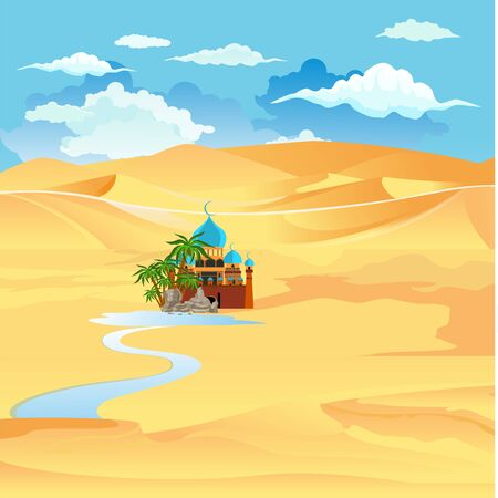 Oasis in the desert , vector landscape