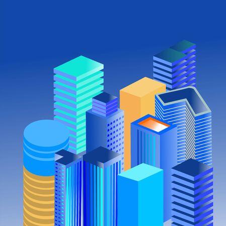 Isometric 3d buildings vector 일러스트