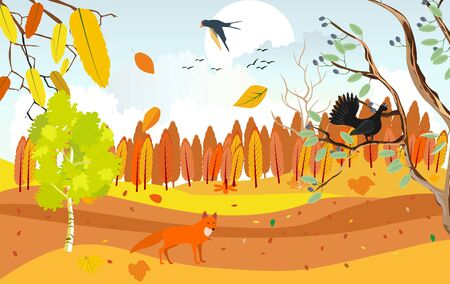 Golden autumn landscape, wildlife and nature, capercailie and fox, wildlife scene  vector