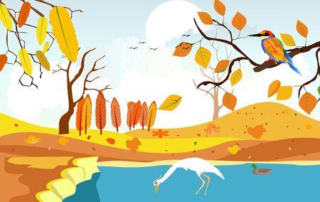 Golden autumn landscape, wildlife and nature,  heron on the lake, natural landscape vector