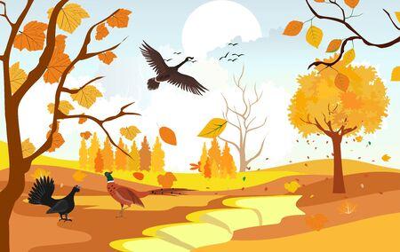 Golden autumn landscape, wildlife and nature, birds, natural landscape vector