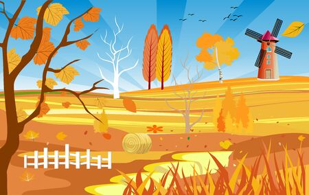 Golden autumn landscape, wind mill on the hill, countryside view, natural landscape vector