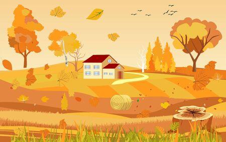 Golden autumn landscape, tomb, countryside view, natural landscape vector 일러스트