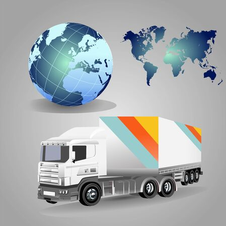 Commercial truck, logistic company theme vector 일러스트