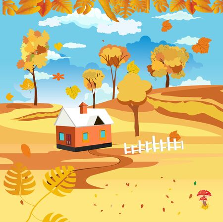 landscapes of Countryside in autumn. mid autumn with field, farm houses, grass, blue sky, fence and leaves falling from trees in yellow foliage. Pretty landscape in fall season.