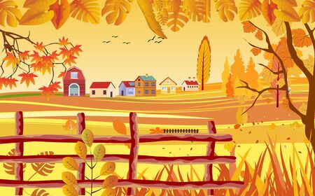 landscapes of Countryside in autumn. mid autumn with field, farm houses, grass, fence and leaves falling from trees in yellow foliage. Pretty landscape in fall season. 일러스트