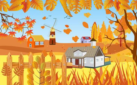 landscapes of Countryside in autumn. mid autumn with field, blue sky, farm houses, grass, fence and leaves falling from trees in yellow foliage. Pretty landscape in fall season. 일러스트